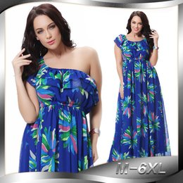 Wholesale Women s Plus Size Dresses XL XL XL XL XL Fashion Bohemian Dress elegant printed Sexy Beach dress