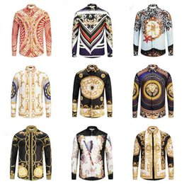 Wholesale flowers design shirt man for sale – custom Famous Brand design clothes men galaxy golden dragon flower print long sleeve d shirt Baroque printing Medusa shirt