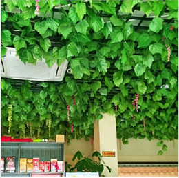 climbing vines NZ - 2.1 M long Simulation Ivy Rattan Climbing Vines Green Leaf Artificial Silk Virginia Creeper Wall Decoration Home Decor free shipping