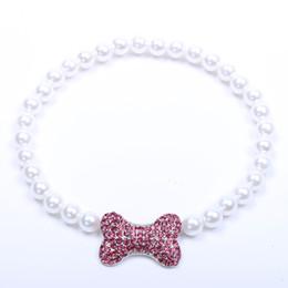 $enCountryForm.capitalKeyWord Australia - Small dog cat Pearls Necklace Collar With Rhinestones Bone Charm Pendant Pet Puppy Jewelry 3 sizes 3 colours