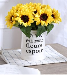ImItatIon sunflowers online shopping - Simulation Flower Fork Artificial Imitation Sunflower Wedding Home Room Decor Fake Props High End Silk Cloth Bouquet