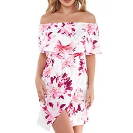 Plus Size 3XL Floral Print Off Shoulder Tiered Dress Sexy Front Split  Bodycon Mini Dress Ladies Slash neck Dresses KH844519 87bd6c03c2bc