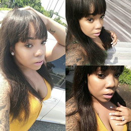 Straight Bangs Wig Australia - Natural color brazilian virgin hair lace front wigs with bangs silky straight human hair full lace human hair wigs for black women