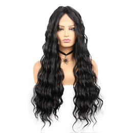 synthetic fiber lace wigs UK - Fashion &Hot Long Lace Front Wigs Water Wave Synthetic Wigs for Women Black Color High Temperature Fiber Wigs
