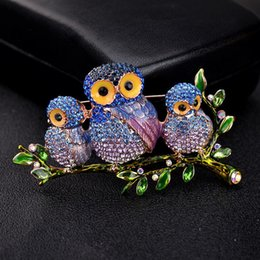 wholesale rhinestone brooches Australia - Rhinestone Enamel Brooches Bird For Women New Fashion Branch Owl Brooch Jewelry Luxury Wedding Boutonniere Pins Wholesale