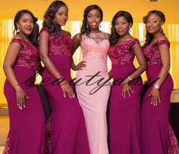 nigerian made honor dress NZ - Lace Bridesmaid Dresses 2019 New African Mixed Style For Nigerian Maid Of Honor Gowns Formal Wedding Party Guest Dress