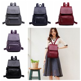 543ed06a7104 Women Pu Leather Backpack 5 Colors Solid Teenager School Bags Large  Capacity Travel Sports Outdoor Bags Girls Backpacks 20pcs OOA5865