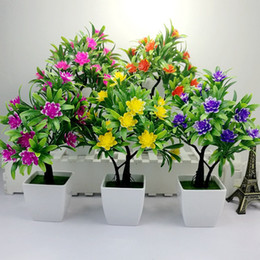 Fake Flower Ornaments Australia - 1pc Flower Bonsai Emulate Green Plant Bonsai Simulation Decorative Artificial Flowers Fake Green Pot Plants Ornaments Home Decor