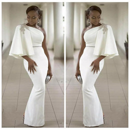 Floor art carpet online shopping - Vogue Evening Wear Dresses White One Shoulder Half Sleeves Mermaid Formal Beading African Dubai Women Long Sheath Prom Celebrity Gown