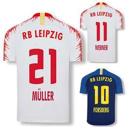 2019 Leipzig Home White Jersey RBL Werner Poulsen Forsberg Kampel Muller 18  19 Leipzig Away Blue Football Shirt 104cdaaf1
