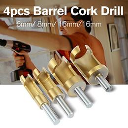 Tool Coatings Australia - 4pcs Wood Plug Hole Titanium Coated Cutter Drill Bits Set 1 4 3 8 1 2 5 8 Cutting Dowel Power Woodworking Cork Hole Saw Tool Round Wood Plug