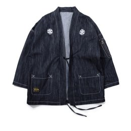 Chinese  Japanese Kimono Jackets Japan Style Zipper Pocket Embroidery Men 2018 Streetwear Male Fashion Hip Hop Casual Coats manufacturers