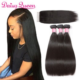 malaysian straight hair 24 inches 2018 - Cheap 8A Mink Brazilian Straight Hair With Closure Brazilian Virgin Hair 3 Bundles With Lace Closures Wholesale Remy Hum