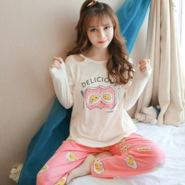Women Cotton Pajamas Cute Long Sleeve Printing Egg Letters Kawaii Female  Winter Sleepwear 2 Piece Set Spring Womens Pajama Set a5605f9e8