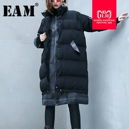 Large Jersey Size NZ - [EAM] 2018 New Autumn Winter Stand Collar Long Seeve Denim Stitch Loose Large Size Cotton-padded Coat Women Parkas Fashion JK479