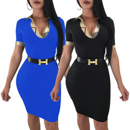 plus size fashion belts 2019 - Women Elegant Bodycon Work Office Dress Sexy Fashion Summer Short Sleeve Plus Size Business Dress Without Belt cheap plu