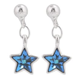 China Blue Star Small Earrings Pendant Girl Pure Silver Temperament Earrings Japanese Korea Exquisite Personality Earrings Mini Simplicity suppliers