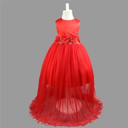 big red ball gown dresses 2019 - Kids Clothing Children Girls Dresses Elegant Flower Lace Long Dress Big Bow Round Neck Baby Girl Gown B11 discount big r