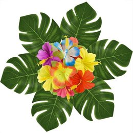 Wholesale Hawaii Style Artificial Leaf Of Tortoiser Flower Beach Theme Decor Fake Leaves Party Supplies Home Fashion Favor Articles hb ii