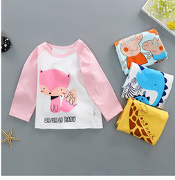 Wholesale spring colors long sleeve shirts for sale – custom Spring Sizes Muti Colors Choose Children Cotton Round Neck Cartoon Animal Printed Long Sleeve Knitting T shirt Soft Baby Kid s T shirt
