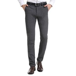Easy Care Suits Australia - 2018New Fashion SLIM FIT good quality Elastic easy care men business suit Pants two ways stretch casual trousers S18102001