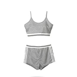 Chinese  2018 Sexy Women Yoga Set Gym Fitness Running Workout Athletic Sportswear Tracksuit Sleeveless Crop Top Shorts Panties Summer manufacturers