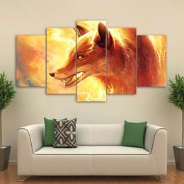 $enCountryForm.capitalKeyWord Australia - HD Print Canvas 5 Pieces Burning Animal Fox Head Painting Home Decoration Poster Wall Art Framework Modular Pictures Living Room