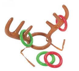 93ce992aabe87 100pcs New Inflatable Kid Children Fun Christmas Toy Toss Game Reindeer  Antler Hat With Rings Hats Party Supplies SN2190