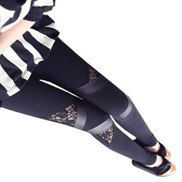 embroidered leggings UK - 2017 New Sexy Women Slim Embroidered Lace Stretch Leggings Pencil Pants Skinny female Capris Trousers free size