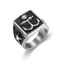 Finger rings anchor online shopping - Punk L Stainless Steel Geometric Shape Personality Design Anchor with Stars Finger Rings for Men Rings Jewelry