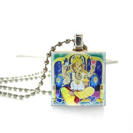 $enCountryForm.capitalKeyWord UK - 2019 Fashion Holy Ganesha Hindu Gods Glass Photos Scrabble Art Pendant Jewelry Wooden Scrabble Tiles Silver Ball Chain Necklace