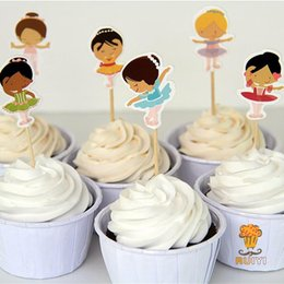 Kids Party Cupcakes Australia - 24pcs Ballerina Dancing girl cake toppers cupcake picks cases kids birthday party decoration baby shower candy bar