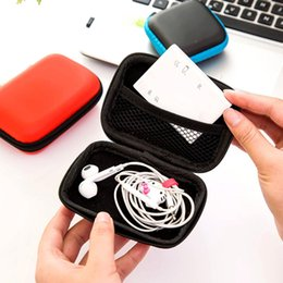 Wholesale 1pc Coloful Zipper Hard Headphone Case Earbuds Box PU Leather Earphone Storage Bag Protective USB Cable Organizer Cute