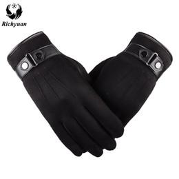Suede glove men online shopping - Better warm winter mens gloves Faux suede Leather Black leather gloves male winter men