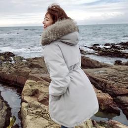 Women Raccoon Fur Parka NZ - Women Winter Real Raccoon Fur Jacket 2018 Warm Coat 90% White Duck Down Hooded Parkas Windproof Warm Loose Female Snow Outerwear