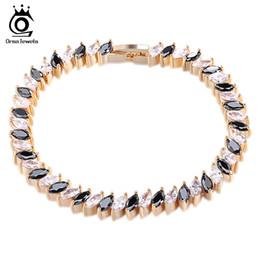$enCountryForm.capitalKeyWord NZ - ORSA JEWELS Hot Sell Roman Chain Bracelet for Women Luxury Clear&Black Cubic Zircon Inlay Charm Bracelet Bride Jewelry OMB13