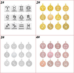 Wholesale 12 Zodiac Signs Pendant Jewelry Accessories For Necklace Bracelet Earrings Stainless Steel Constellation Charms Pendant