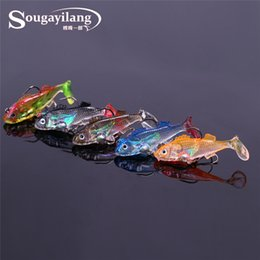 Discount bait tail jigs - lead Sougayilang 30pcs kit Long Tail Soft Lead Fish With 3D Eyes Hooks Lure Sea Tackle Soft Bait Bass Fishing Lures