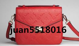 leather handbag shoulder bags 2019 - Free shipping high quality genuine black embossed leather women's handbag pochette Metis shoulder bags crossbody ba