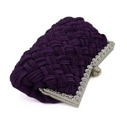 Knit Fabric Prints Canada - OUCEICE NEW 2018 New Arrival Diamond Lattice Straw Knitting Ethnic ladies evening clutch bags pochette soiree Party Chain Women Clutch Bag