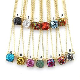 $enCountryForm.capitalKeyWord NZ - 14 Colors Fashion Glitter Square Opal Necklaces Gold Color Brand Druzy Drusy Necklace New York Jewelry for Women