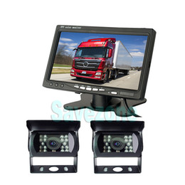 "bus rear view camera NZ - =DHL= 2 x Vehicle Backup Reverse Camera + 7"" inch LCD Monitor Car Rear View Kit for Long Truck Bus Caravan RV 12V 24V"