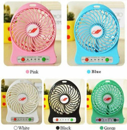 Usb fan for laptop desk online shopping - 100 Tested Rechargeable LED Light Fan Air Cooler Mini Desk USB Battery Rechargeable Fan With Retail Package for PC Laptop hot sale