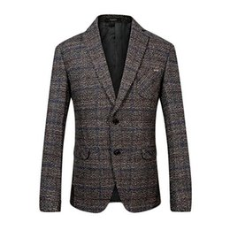 Suits Contrasting Lapels Canada - New Fashion Men's Winter Notched Lapel Thicken Warm Suit Blazers