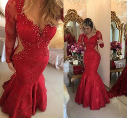 Wholesale 2019 Red Formal Lace Dresses Evening Wear with Long Sleeves Sweetheart Pearls Mermaid Sweep Train Arabic Prom Party Gowns Plus Size Custom