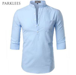 linen slim shirts UK - Fashion Cotton Linen Shirt Men Clothes Casual Slim Fit Mens Shirts Stand Collar Summer Short Sleeve Henley Shirt Chemise Homme