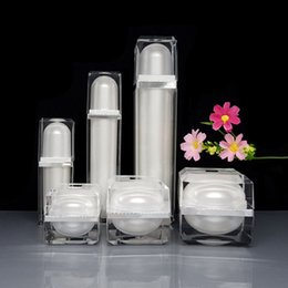 Lotion bottLes shapes online shopping - 15g g g Square Shape Acrylic Bottle Jar Lotion Pump Bottle White Color Acrylic Cream Jar ml ml ml F20173580