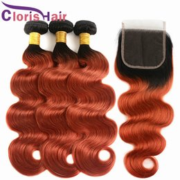 golden hair color 2019 - Raw Virgin Indian Ombre Extensions Golden Blonde Human Hair 3 Bundles With Lace Closure Colored T1B 350 Orange Body Wave