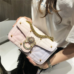 Discount exquisite ladies handbags - 2018 Women Messenger Bags PU Leather Diamonds Party Handbags Exquisite Chain Bag Lady Rainbow Fairy Handbag Not much in