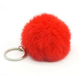Chinese  Cute fake Rabbit Fur SoftBall Pompom Keychain For Women Bag Cars Pom Pom Fluffy Key Chains Keyring Pendant Porte Clef Charm manufacturers
